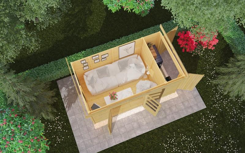 Woodfeeling Karibu Holz-Gartenhaus Retola 5 inkl. Anbauschrank und Anbaudach 2,80 m Breite in naturbelassen (unbehandelt)