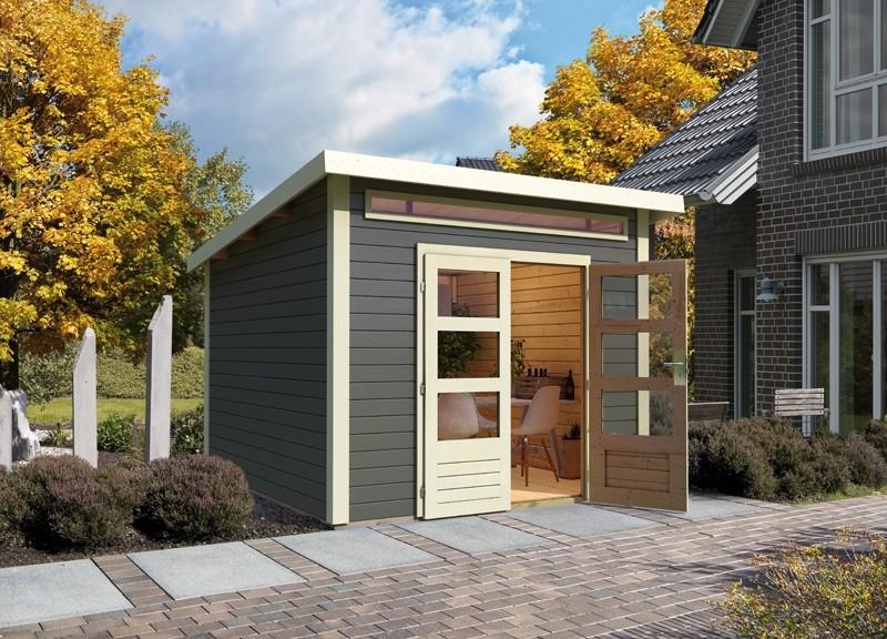 Woodfeeling Karibu Holz-Gartenhaus Kandern 3 im Set mit Anbaudach 2,35 m Breite in terragrau