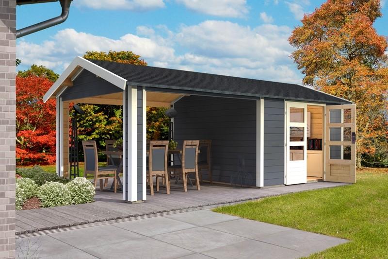 Woodfeeling Karibu Holz-Gartenhaus Tastrup 3 im Set mit 1 Dachausbauelement in terragrau