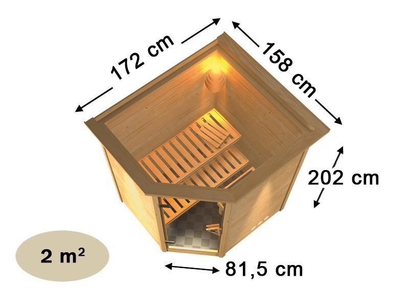 Karibu Massiv Sauna 230 Volt Alicja (Eckeinstieg) 38 mm ohne Zubehör