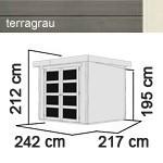 Karibu Holz-Gartenhaus Mühlendorf 3 - 19 mm Flachdach Schraub- Stecksystem - terragrau
