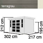 Karibu Holz-Gartenhaus Mühlendorf 4 - 19 mm Flachdach Schraub- Stecksystem - terragrau