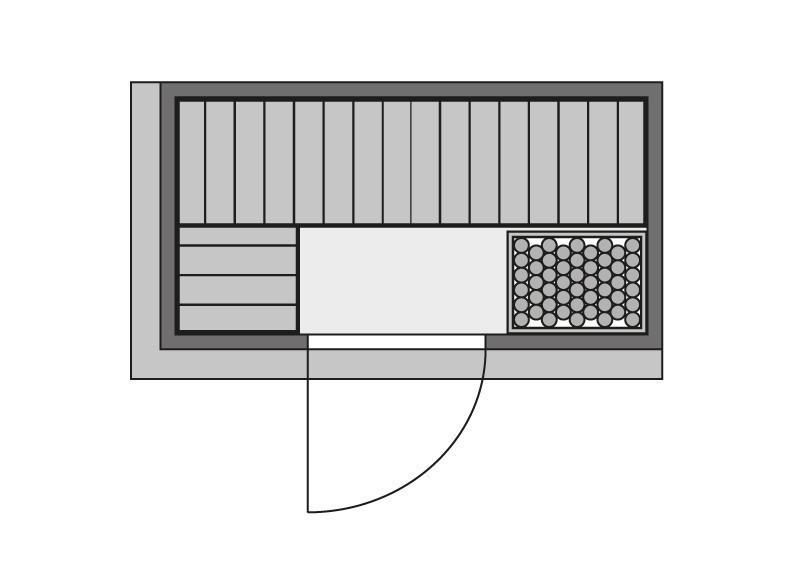 Karibu System Sauna Variado (Fronteinstieg) 68 mm inkl. Ofen 9 kW ext. Steuerung