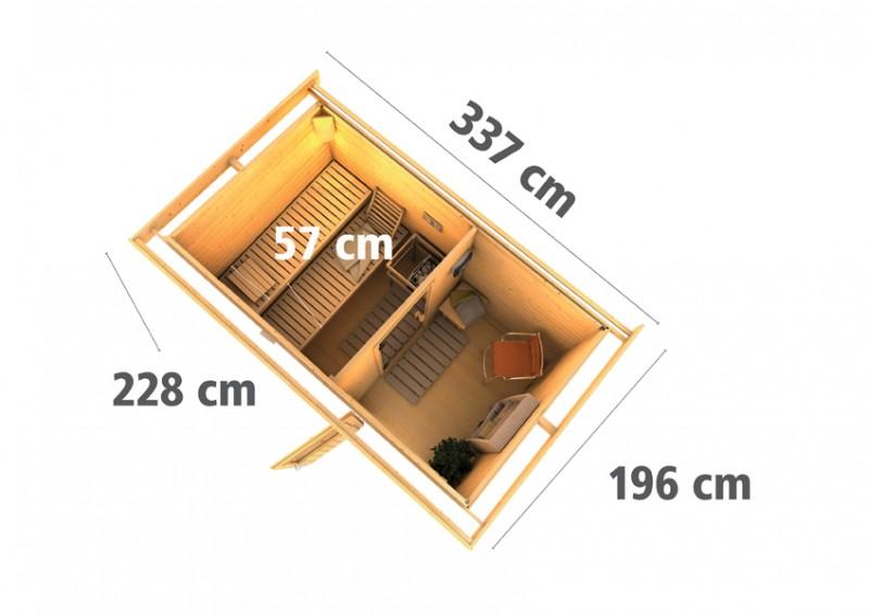 Karibu Systemsaunahaus 38 mm Saunahaus Skrollan 1  Ofen 9 KW externe Strg easy  Gartensauna