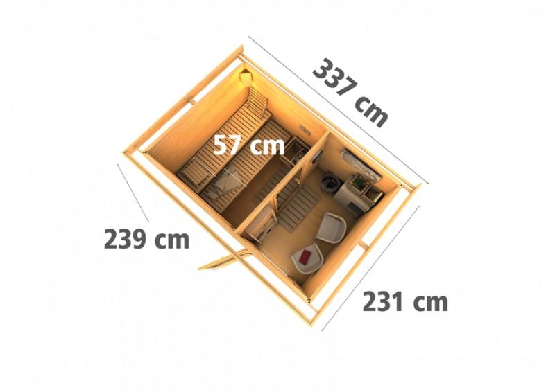 Karibu Systemsaunahaus 38 mm Saunahaus Skrollan 2  Ofen 9 KW externe Strg easy  Gartensauna