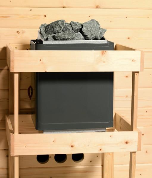 Karibu Systemsaunahaus 38 mm Saunahaus Skrollan 3 Ofen 9 kW Bio externe Strg easy  Gartensauna
