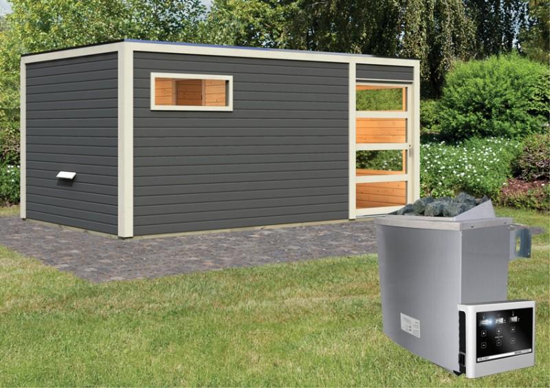 Karibu Systemsaunahaus 38 mm Saunahaus Hygge Ofen 9 KW externe Strg easy  Gartensauna