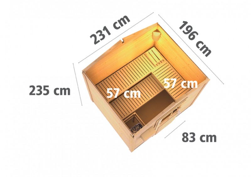 Karibu 38 mm Saunahaus Gartensauna Lyon 1 Ofen inkl Steuergerät easy finnisch und 18 KG Steinen