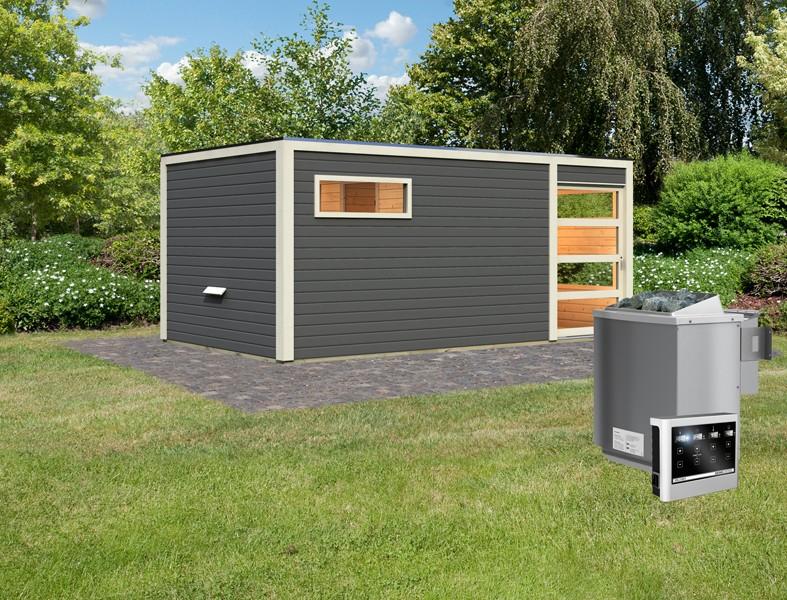 Karibu 38 mm Saunahaus Gartensauna Lille Ofen inkl Steuergerät easy Bio und 18 KG Steinen terragrau