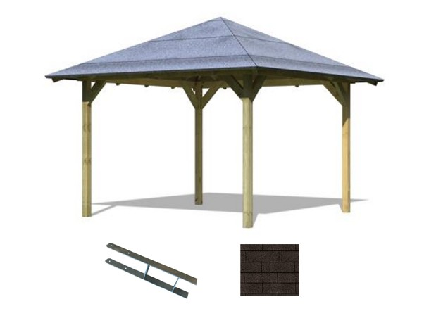 Set: Karibu Pavillon Cordoba kdi inlk. schwarzen Dachschindeln und  Pfostenankern