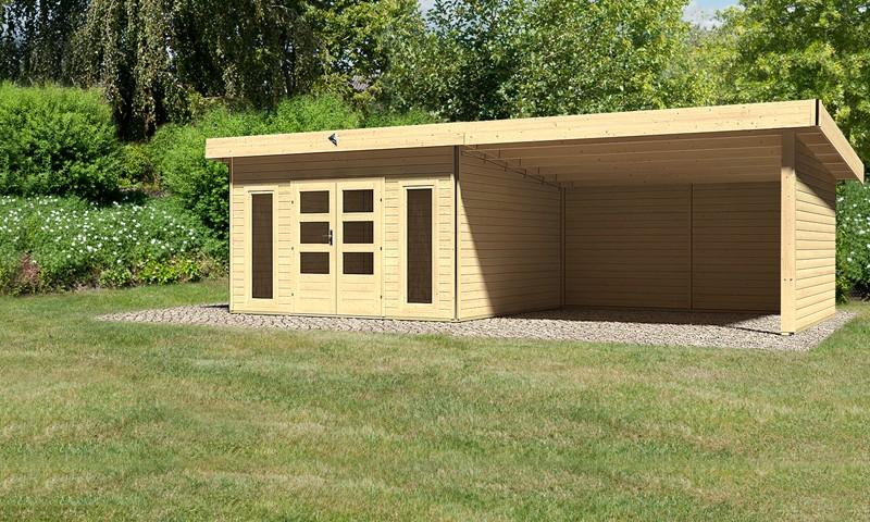 Karibu Holz-Gartenhaus Tecklenburg 2 im Set 4 m Anbaudach Seiten- und Rückwand - 40 mm Wandstärke Pultdachhaus - naturbelassen