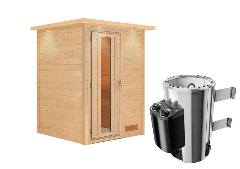Karibu Heimsauna Nadja (Fronteinstieg) Ofen 3,6 kW intgr. Strg   mit Dachkranz Plug & Play 230Volt Sauna