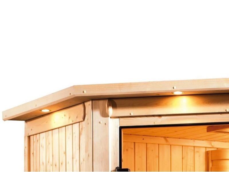Karibu Heimsauna Nadja (Fronteinstieg) Ofen 3,6 kW externe Strg.modern mit Dachkranz Plug & Play 230Volt Sauna