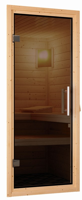 Karibu Heimsauna Nadja (Fronteinstieg) ohne Zubehör Kein Kranz Plug & Play 230Volt Sauna