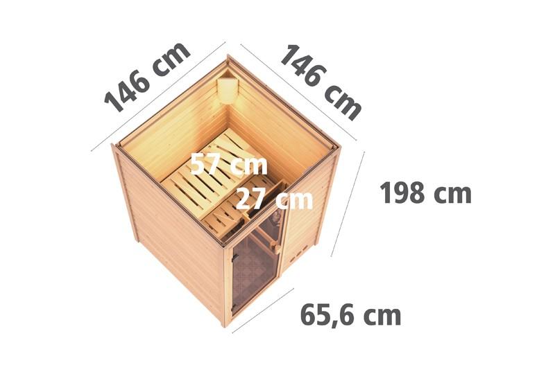 Karibu Heimsauna Nadja (Fronteinstieg) Ofen 3,6 kW intgr. Strg   Kein Kranz Plug & Play 230Volt Sauna