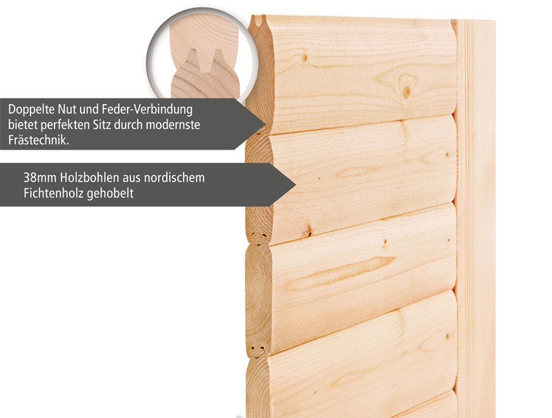 Karibu Heimsauna Nadja (Fronteinstieg) Ofen 3,6 kW Bio-Ofen externe Strg. modern mit Dachkranz Plug & Play 230Volt Sauna