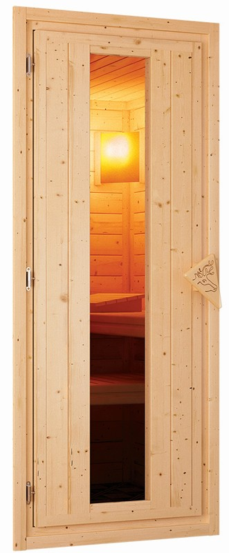 Karibu Heimsauna Alicja (Eckeinstieg) Ofen 3,6 kW Bio-Ofen externe Strg. modern Kein Kranz Plug & Play 230Volt Sauna