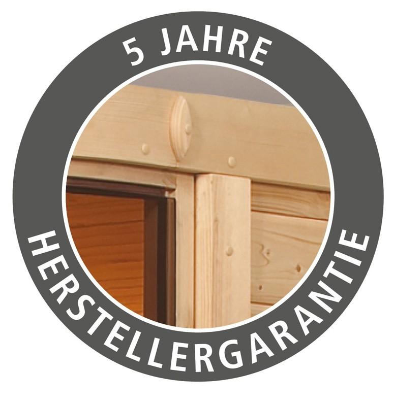 Karibu Heimsauna Alicja (Eckeinstieg) Ofen 3,6 kW intgr. Strg   mit Dachkranz Plug & Play 230Volt Sauna