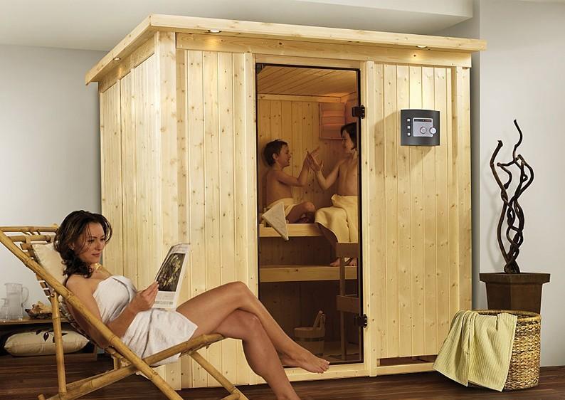Karibu System Sauna 230 Volt Daria (Fronteinstieg) 68 mm mit Dachkranz inkl. Ofen 3,6 kW Bio-Kombi ext. Steuerung