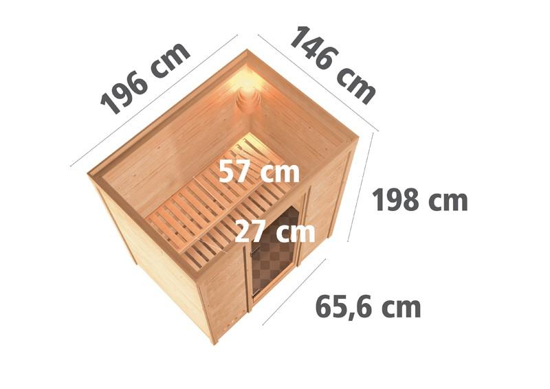 Karibu Heimsauna Ronja (Fronteinstieg) Ofen 3,6 kW intgr. Strg   Kein Kranz Plug & Play 230Volt Sauna