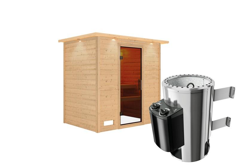 Karibu Heimsauna Ronja (Fronteinstieg) Ofen 3,6 kW intgr. Strg   mit Dachkranz Plug & Play 230Volt Sauna