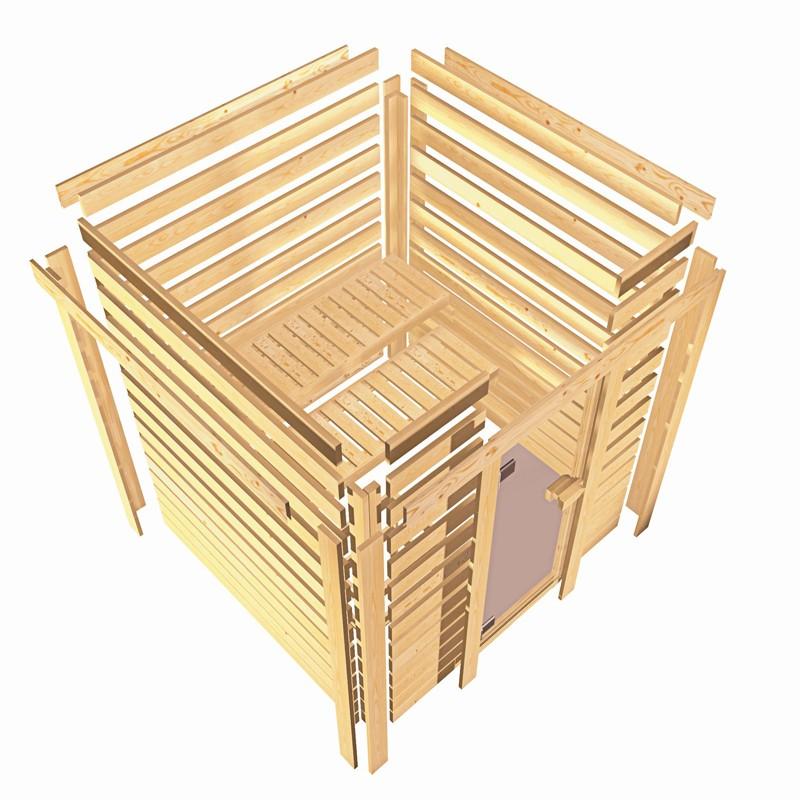 Karibu Heimsauna Ronja (Fronteinstieg) Ofen 3,6 kW Bio-Ofen externe Strg. modern mit Dachkranz Plug & Play 230Volt Sauna
