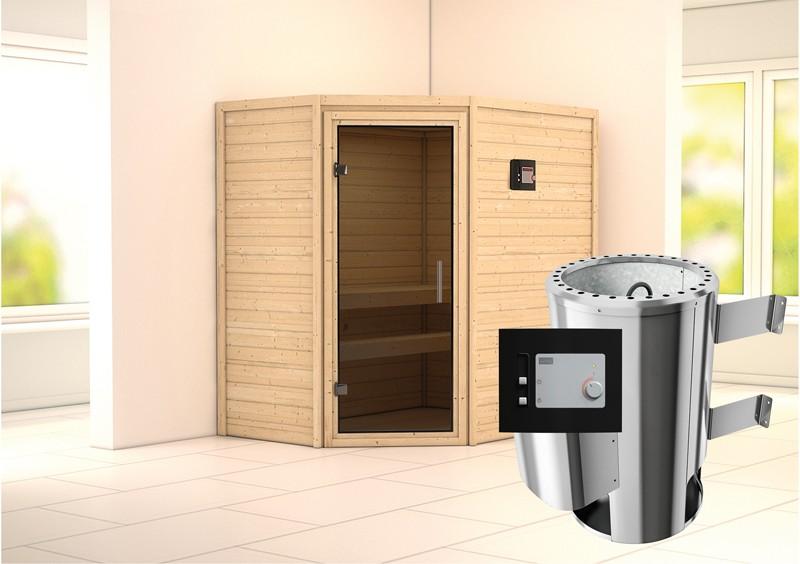 Karibu Heimsauna Cilja (Eckeinstieg) Ofen 3,6 kW externe Strg.modern Kein Kranz Plug & Play 230Volt Sauna