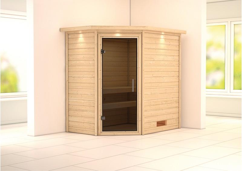 Karibu Heimsauna Cilja (Eckeinstieg) ohne Zubehör mit Dachkranz Plug & Play 230Volt Sauna