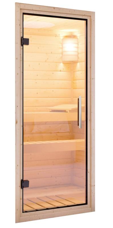 Karibu Heimsauna Cilja (Eckeinstieg) ohne Zubehör Kein Kranz Plug & Play 230Volt Sauna