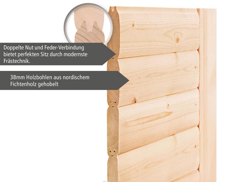 Karibu Heimsauna Cilja (Eckeinstieg) Ofen 3,6 kW intgr. Strg   mit Dachkranz Plug & Play 230Volt Sauna