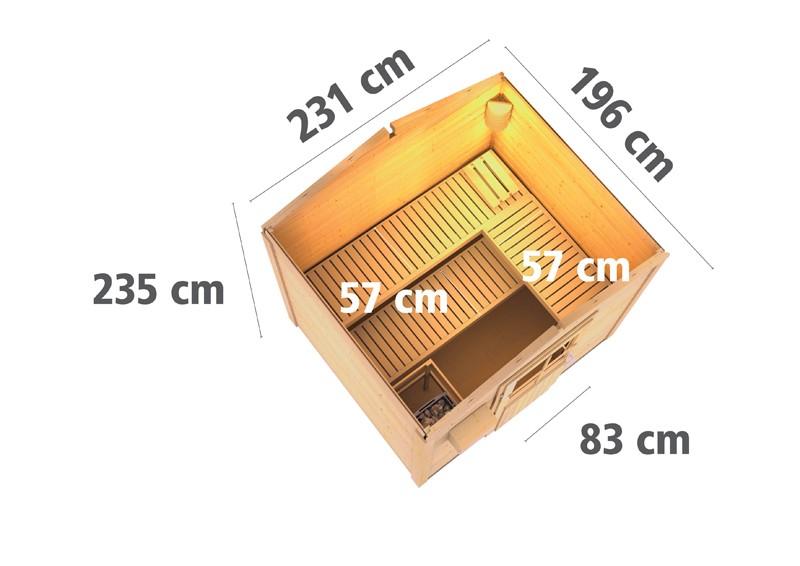 Karibu Systemsaunahaus 38 mm Saunahaus Bosse 1 Ofen 9 kW Bio externe Strg easy  Gartensauna