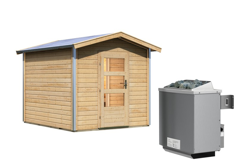 Karibu Systemsaunahaus 38 mm Saunahaus Bosse 1 mit Vorraum Ofen 9 kW integr. Strg   Gartensauna