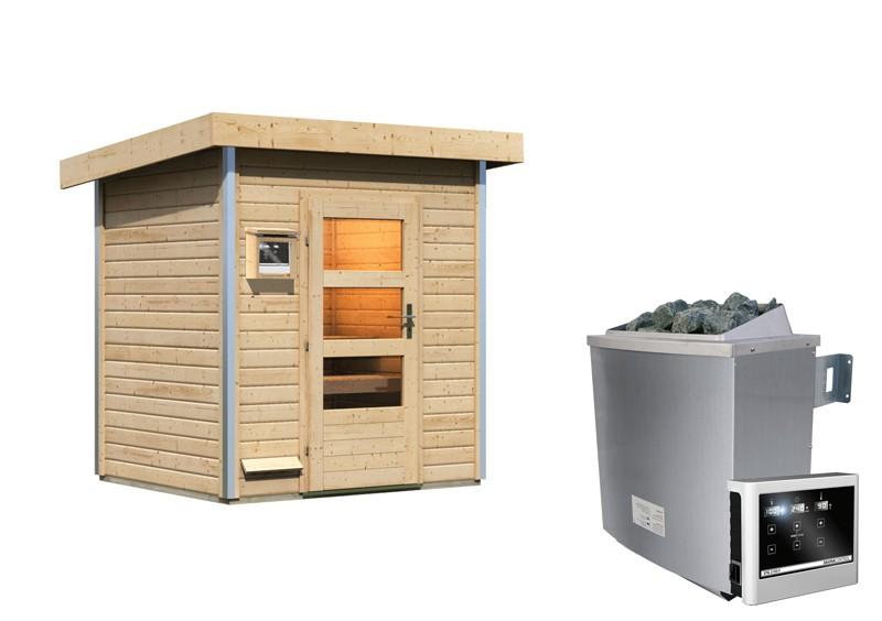 Karibu Systemsaunahaus 38 mm Saunahaus Jorgen Ofen 9 KW externe Strg easy  Gartensauna