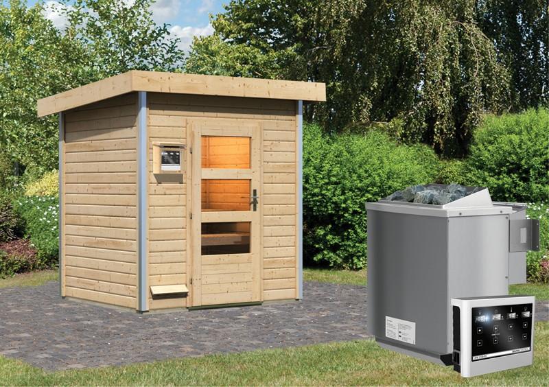 Karibu Systemsaunahaus 38 mm Saunahaus Jorgen Ofen 9 kW Bio externe Strg easy  Gartensauna