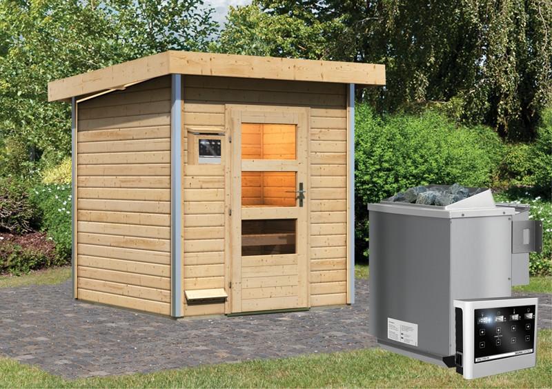 Karibu Systemsaunahaus 38 mm Saunahaus Torge  Ofen 9 kW Bio externe Strg easy  Gartensauna