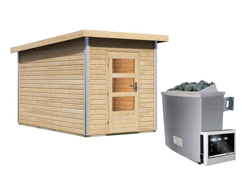 Karibu Systemsaunahaus 38 mm Saunahaus Torge mit Vorraum  Ofen 9 KW externe Strg easy  Gartensauna