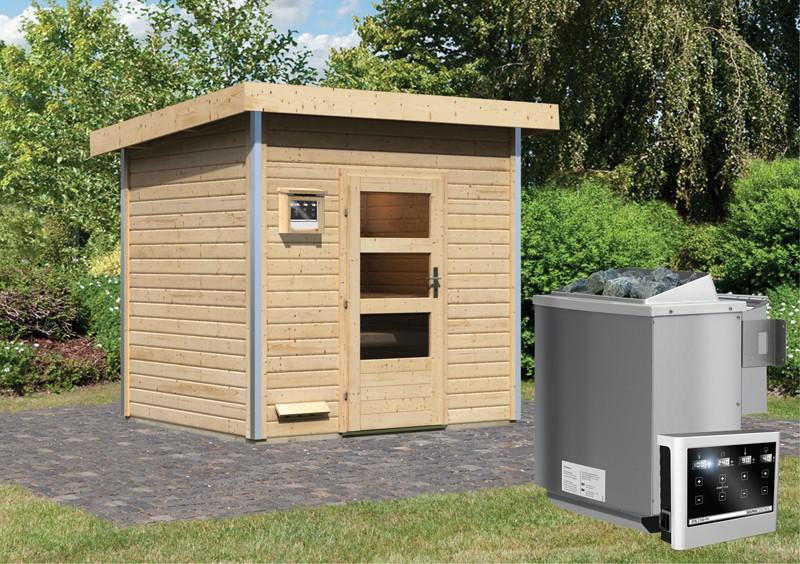 Karibu Systemsaunahaus 38 mm Saunahaus Norge Ofen 9 kW Bio externe Strg easy  Gartensauna