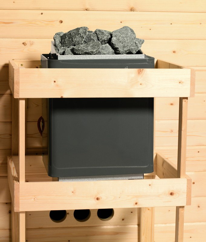 Karibu Systemsaunahaus 38 mm Saunahaus Kroge Ofen 9 KW externe Strg easy  Gartensauna