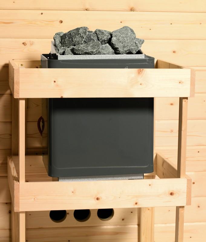 Karibu Systemsaunahaus 38 mm Saunahaus Pekka mit Eckeinstieg Ofen 9 KW externe Strg easy  Gartensauna