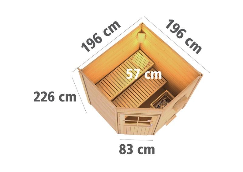 Karibu Systemsaunahaus 38 mm Saunahaus Pekka mit Eckeinstieg Ofen 9 kW Bio externe Strg easy  Gartensauna
