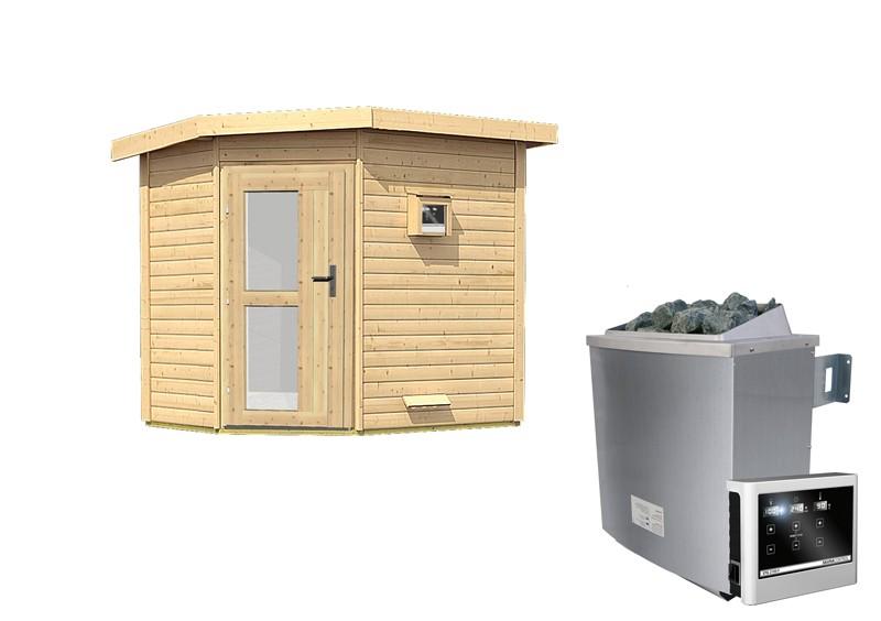 Karibu Systemsaunahaus 38 mm Saunahaus Mikka  mit Eckeinstieg Ofen 9 KW externe Strg easy  Gartensauna