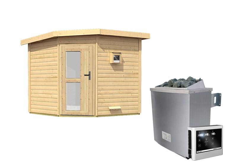 Karibu Systemsaunahaus 38 mm Saunahaus Heikki  mit Eckeinstieg Ofen 9 KW externe Strg easy  Gartensauna