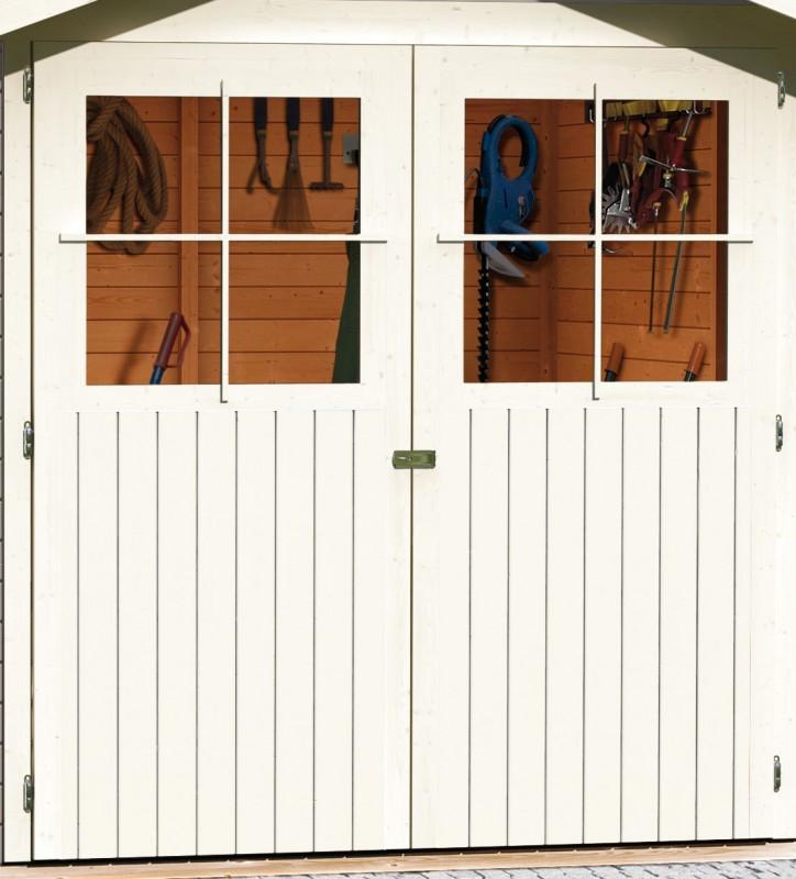 Karibu Holz Gartenhaus Harburg 3 inkl. Türversion classic Farbe: seidengrau