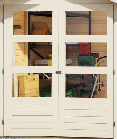 Karibu Holz Gartenhaus Harburg 2 inkl. Türversion modern Farbe: sandbeige