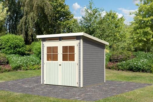 Karibu Holz Gartenhaus Glücksburg 3 Farbe: seidengrau