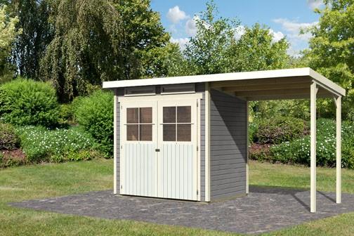 Karibu Holz Gartenhaus Glücksburg 2 im Set mit Anbaudach Farbe: seidengrau