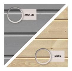 Karibu Holz Gartenhaus Glücksburg 3 im Set mit Anbaudach Farbe: seidengrau