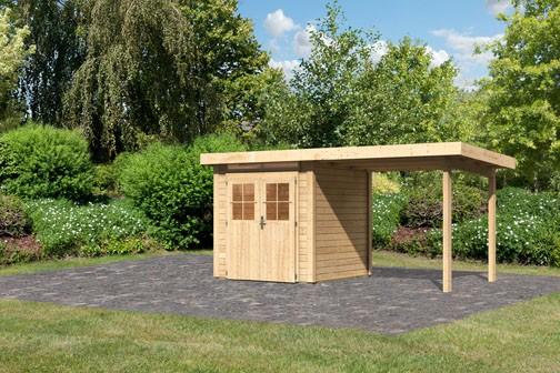 Karibu Holz Gartenhaus Kerpen 1  im Set mit Anbaudach 2,60 m Breite Farbe: naturbelassen