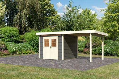 Karibu Holz Gartenhaus Kerpen 2 im Set mit Anbaudach 2,60 m Breite Farbe: terragrau