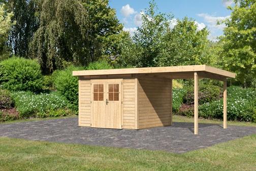 Karibu Holz Gartenhaus Kerpen 3 im Set mit Anbaudach 2,60 m Breite Farbe: naturbelassen